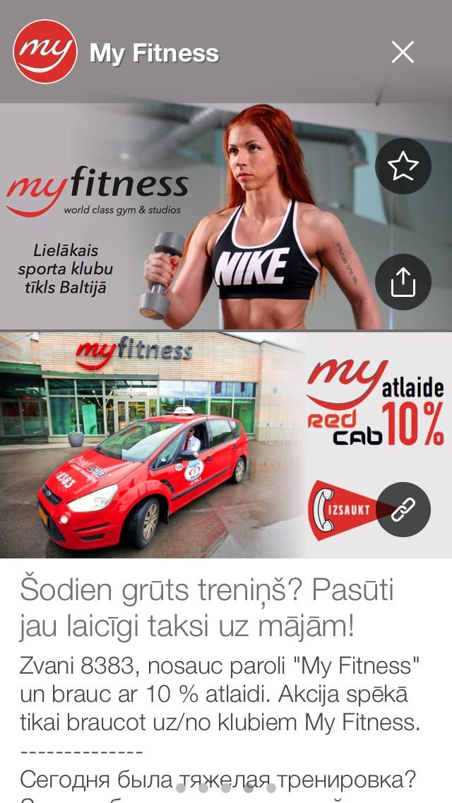 10% atlaides sporta klubu My Fitness klientiem.