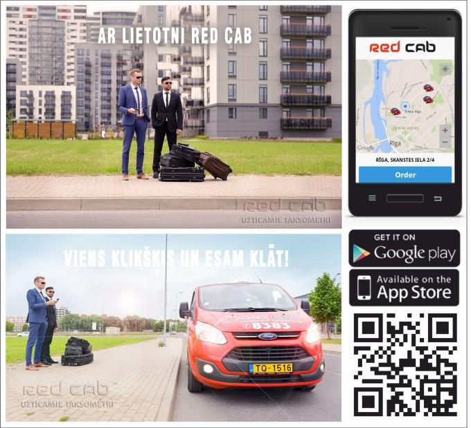 Izsauc taksometru ar Red Cab aplikāciju.