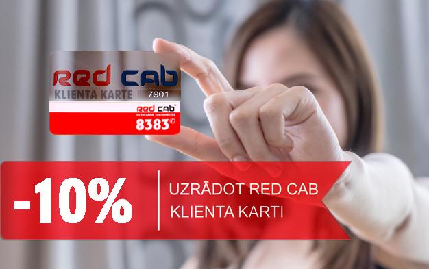 Ar Red Cab klienta karti maksā par 10% mazāk!