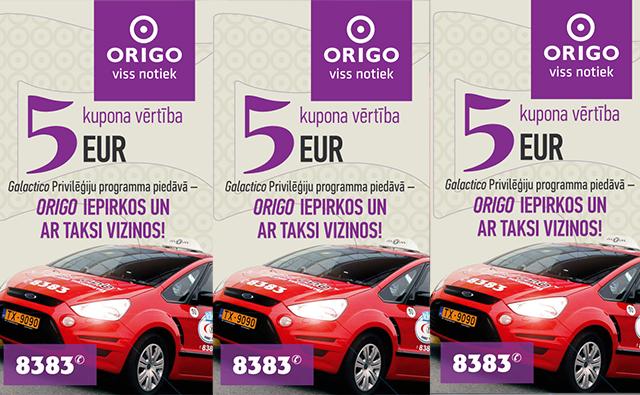 Iepērcies t/c ORIGO, sakrāj čekus vismaz 100 € vērtībā un saņem 5 € dāvanu karti braucienam ar Red Cab.